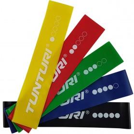 Tunturi Mini Resistance Band Set 5 Stück – 5 Gummi Gymnastikbänder mit Netztasche